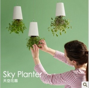 Novelty-Upside-down-Plant-Pot-Sky-Plante-Seeder-Flower-Pot-White