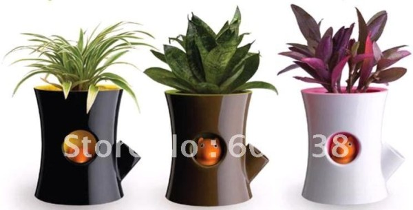 2-pieces-Original-Log-and-Squirrel-Self-Watering-Flower-Pot-Squirrel-Plant-Pot