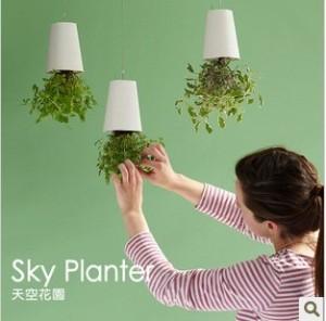 Novelty-Upside-down-Plant-Pot-Sky-Plante-Seeder-Flower-Pot-White