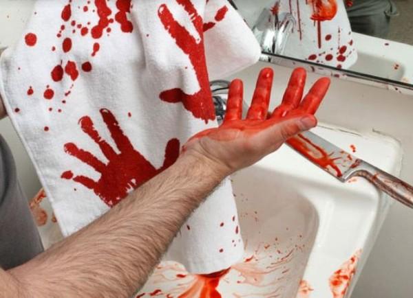 Аксессуары для ванной в стиле «Психо» Хичкока - полотенце со следами крови, которым убийца стирал следы преступления.
