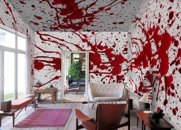 Аксессуары для ванной в стиле «Психо» Хичкока - обои со страшными кровавыми подтеками.